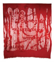 Blood cannot be washed out with blood, 2010, Unn Sønju, wool on wool warp, 250 x 250 cm