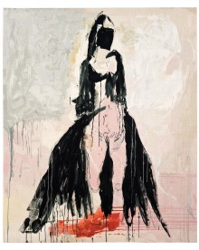 Black Cat Tapestry, 2011, designed by Tracey Emin, woven at West Dean Tapestry Studio, wool linen and cotton, 215 x 178 cm, © Tracey Emin.