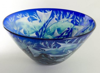 Cobalt blue finned fish bowl by Julia Linstead