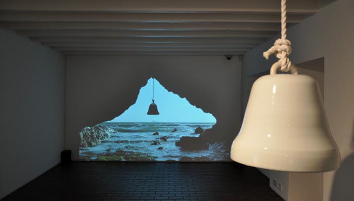 Veneration Bell at Porth Lleuog 2013, mixed installation by Adam Buick